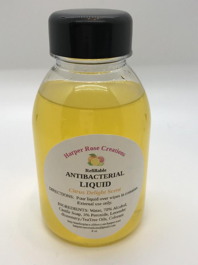 HAND SANITIZER REFILL, Citrus Delight, Antibacterial, Natural, Homemade, Free