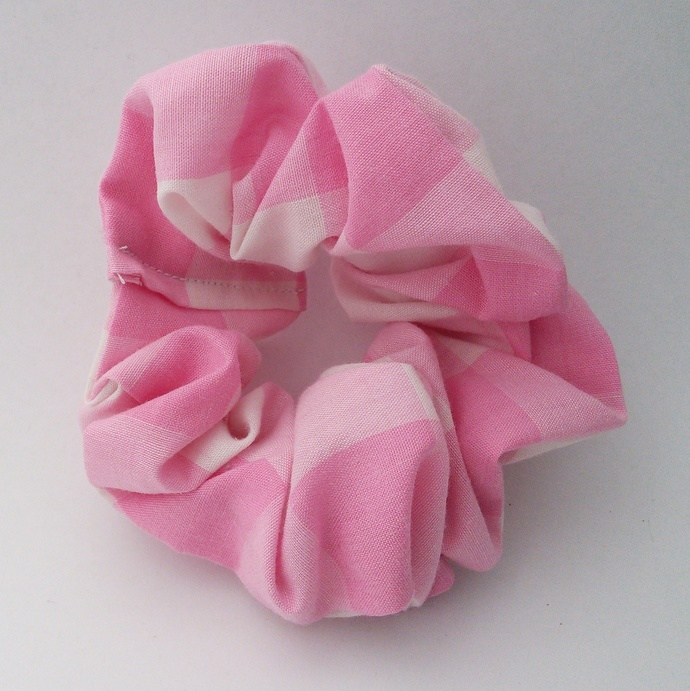 Scrunchie Pink and White Upcycled Fabric