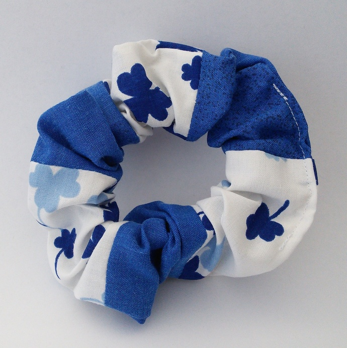 Scrunchie Blue and White Patchwork Upcycled Fabric