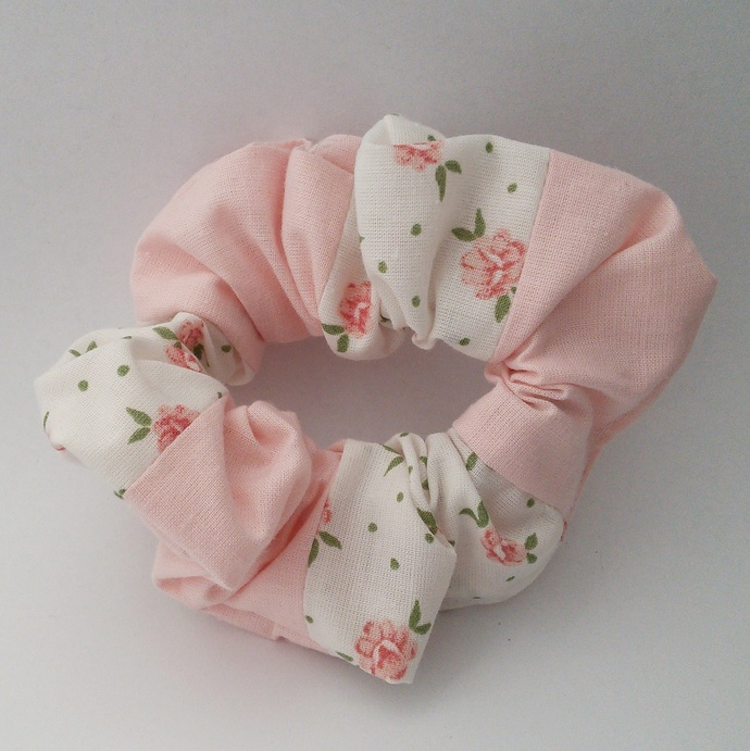 Scrunchie Pink and White Patchwork Upcycled Fabric