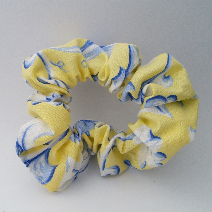 Scrunchie Yellow Blue and White Upcycled Fabric