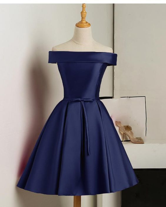 Navy Blue Homecoming Dress, Cute Short Prom Dress, Evening Dress