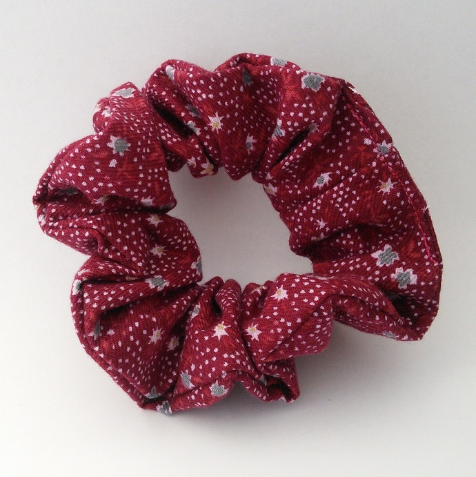 Scrunchie Burgundy Floral Upcycled Fabric