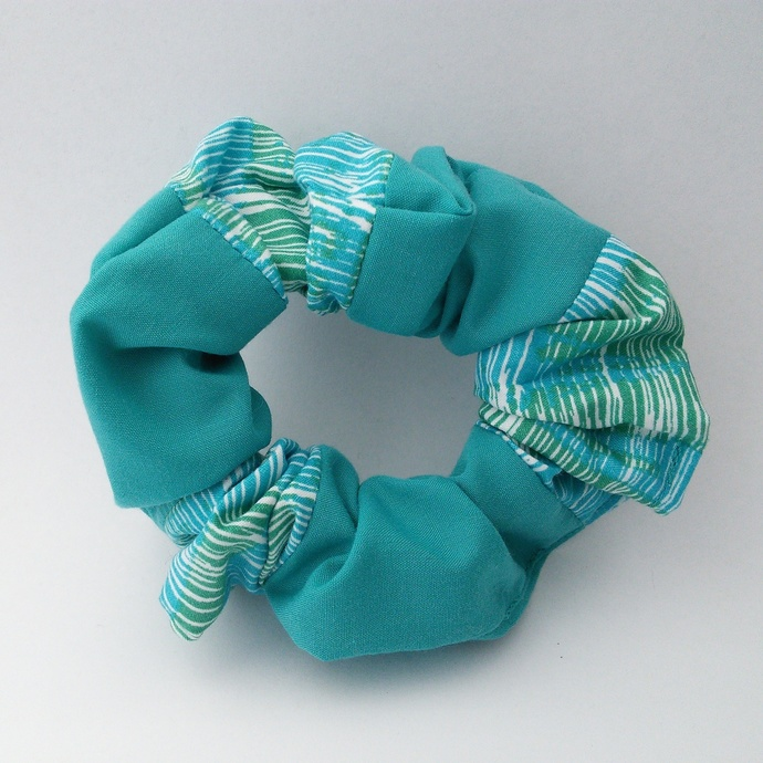 Scrunchie - Turquoise Aqua and White Patchwork Upcycled Fabric