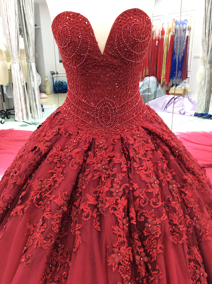 Gorgeous Ball Gown Wine Red Sweet 16 Dresses, Tulle Beaded and Lace Applique