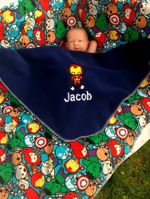 Iron Man Baby blanket - Personalized name - Unique Super Hero baby shower gift-