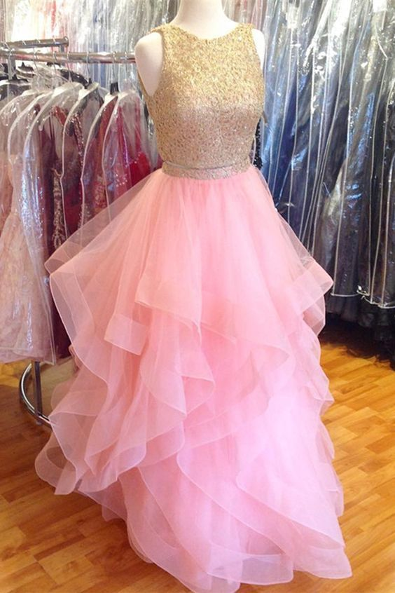 Pink tulle two pieces fashion long prom dress, lace top evening dress M2818