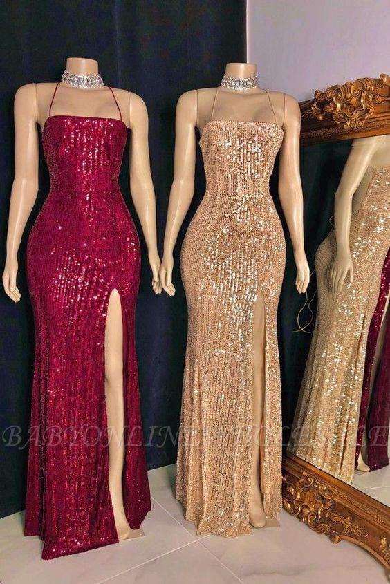 mermaid evening dresses long boat neck sparkly sequin red or gold elegant simple