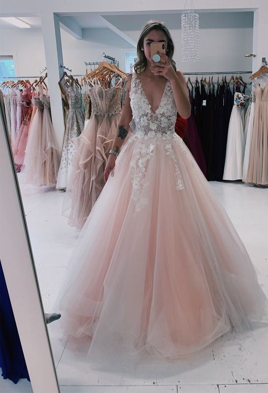 pink v neck prom dresses long lace applique sleeveless elegant cheap tulle prom