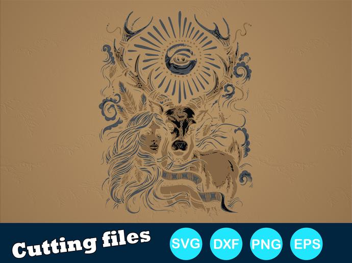 Mother Nature (1) Digital file SVG, DXF, PNG, EPS