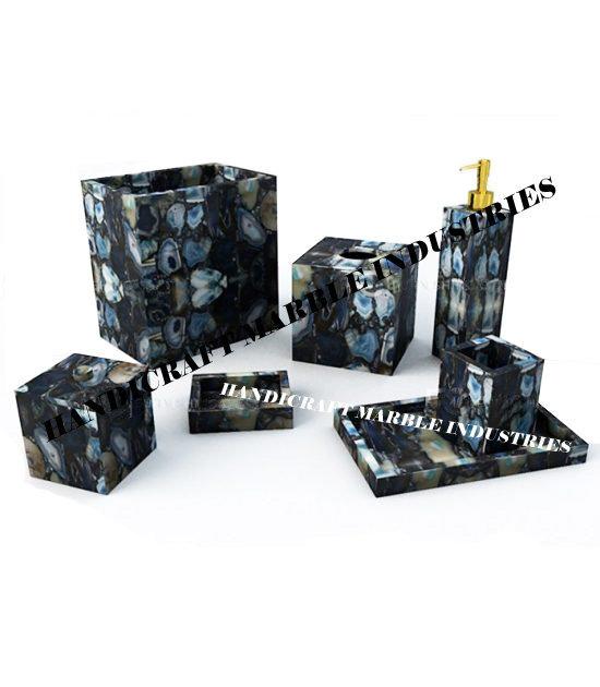 7 Pcs. Blue Agate Bathroom Set, Bathroom Accessories/ Bathroom Decor Gift, Agate