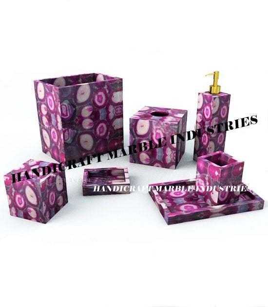 7 Pcs. Pink Agate Bathroom Set, Agate Soap Dispenser, Agate Soap Dish, Agate