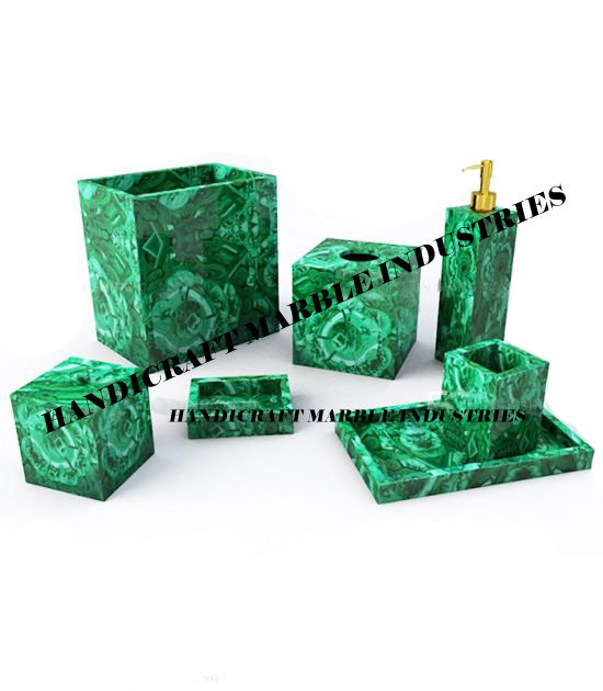 7 Pcs. Malachite Bathroom Set, Malachite Accessories, Bathroom Decor Malachite