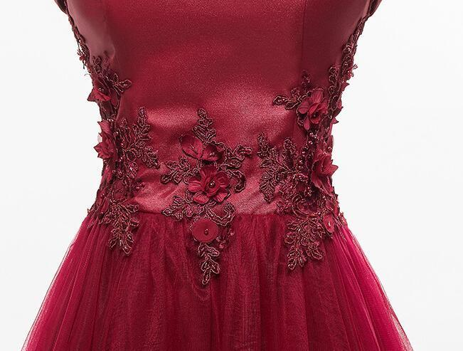 Burgundy Long Tulle Party Dress, A-line Off Shoulder Bridesmaid Dress