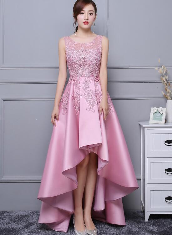 Pink Lace Homecoming Dress, High Low Prom Dress 2021, Cute Party Dress
