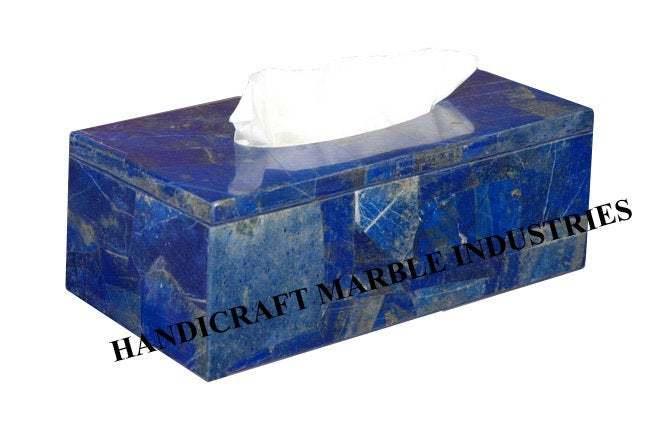Blue Lapis Lazuli Tissue paper Box, for Living Room Table, Dinning Tableware,