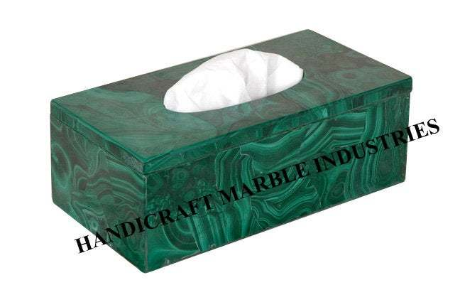 Tissue paper Box Green Malachite, for Living Room Table, Dinning Tableware,