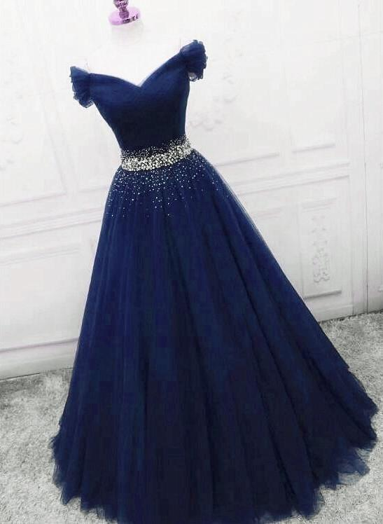 Navy Blue Tulle Sweetheart Beaded Prom Dress, Long Evening Gown
