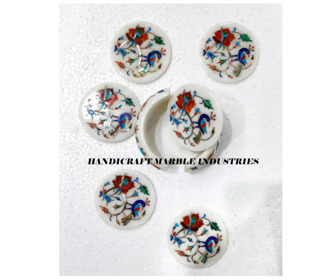 6 Pcs. White Marble Round Tea Coaster Set Inlay Bird and Floral Pattern with