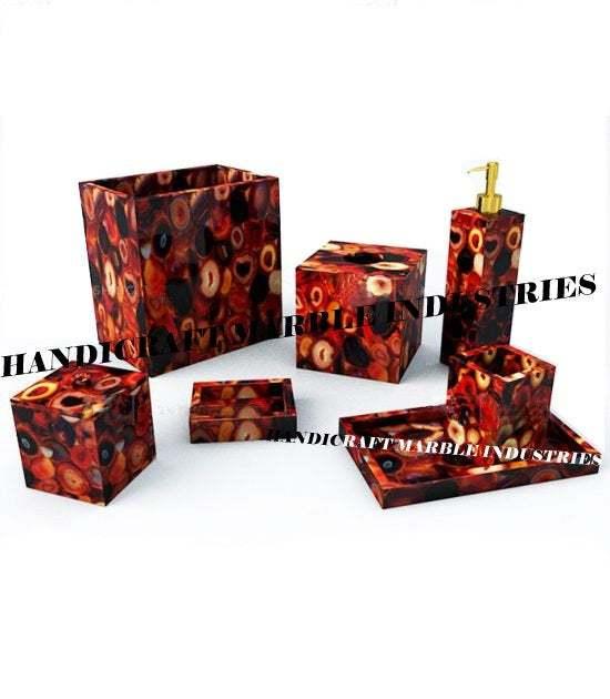 7 Pcs. Red Onyx Agate Bathroom Set, Agate Soap Dispenser, Agate Soap Dish, Agate