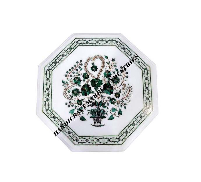 Octagon Marble Table Top Malachite Inlay Tree Of Life, Living Room Furniture