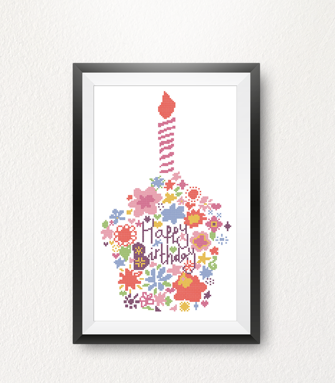 #303 Cupcake Flower bouquet candle Modern Cross Stitch Pattern, flower counted