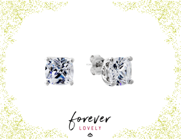8mm Cushion Cut Studs - Cocktail Earrings - CZ Post Earrings - Minimal Studs -