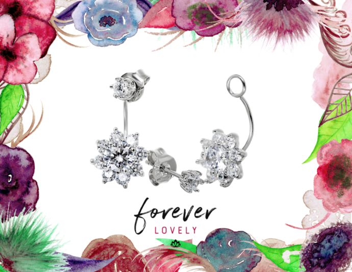 Flower Ear Jackets - CZ Studs - Minimal Jewels - Dainty Studs - Diamond Earrings