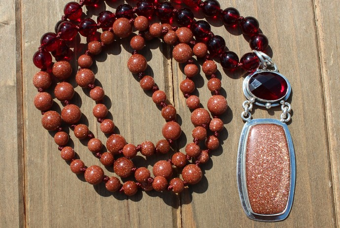 Garnet & Sunstone Jewelry, Hand knot, Long Beaded Necklace, with Pendant, by