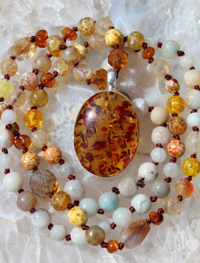 Amber Jewelry, Long Beaded Necklace, with Pendant, by KnottedUp, Jewelry gifts