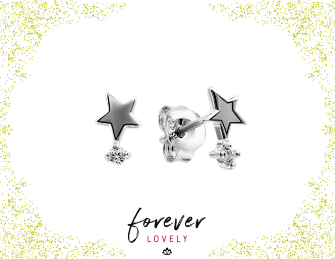 Star Tipped Tiny Diamond Studs - Small Earrings - CZ Silver Studs - Tiny Stone
