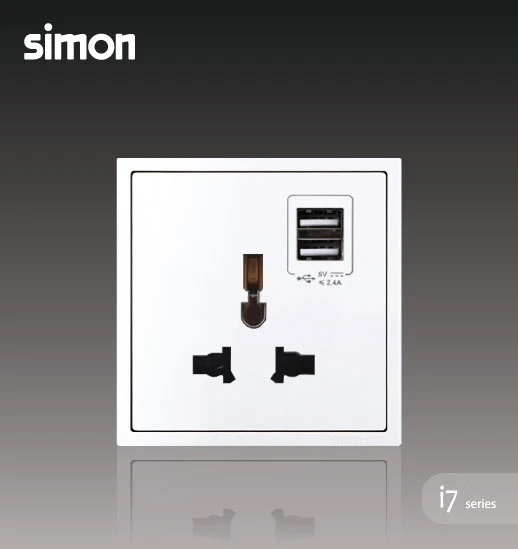 SIMON I7 SERIES 10A UNIVERSAL SOCKET OUTLET WITH DOUBLE USB CHARGING OUTLET