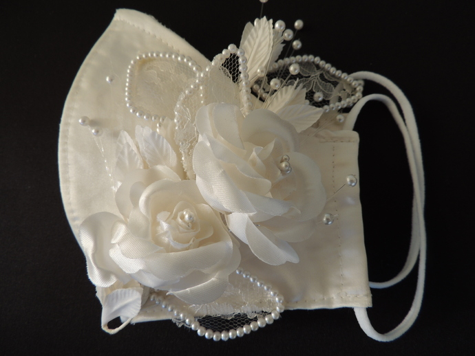 Italian Duchess Satin Bridal Mask with lace, flowers and beads