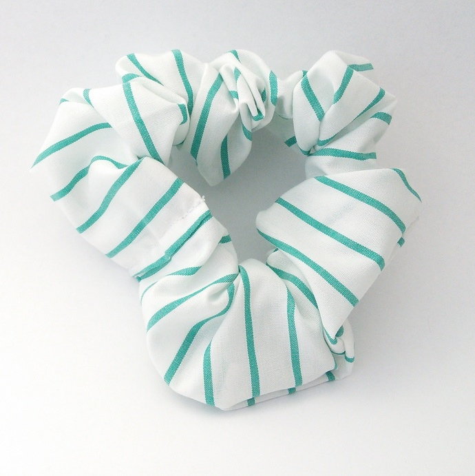 Scrunchie Green and White Upcycled Fabric