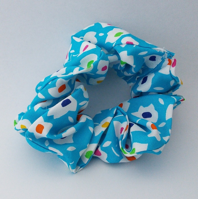 Scrunchie Blue Floral Upcycled Fabric