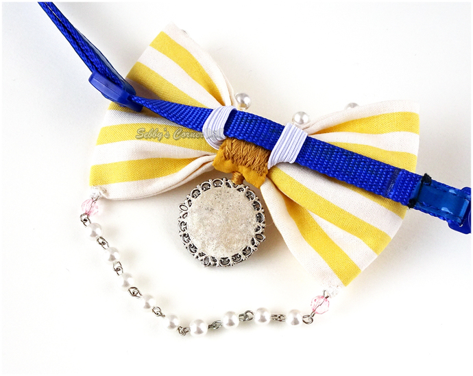 Birdcage Yellow Stripe Bow Tie, Pet Photography, Weddings, Bows for Cats
