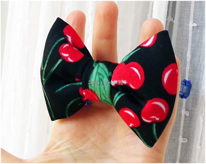 Cherry Print Bow Tie for Cats, Rockabilly, Slide on, Removable, Pet Accessories