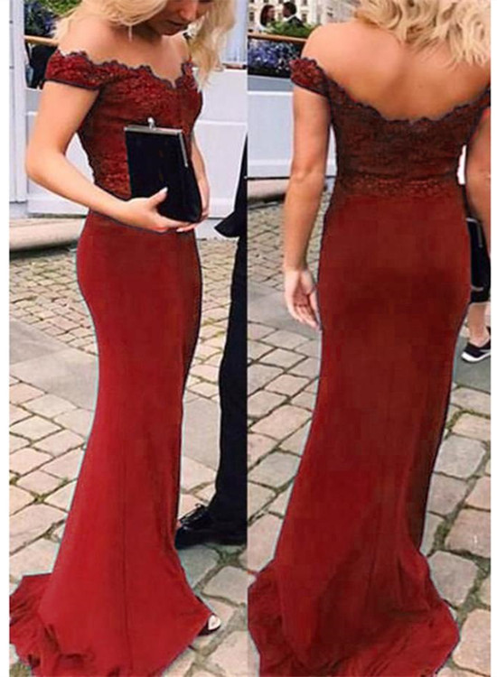 Dark Red Mermaid Off Shoulder Spandex Evening Gown, Beautiful Bridesmaid Dress