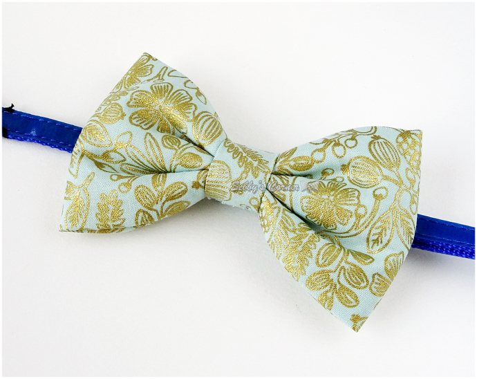 Elegant Teal Bow with Gold Detailing, Bow Ties for Cats, Pet Accessories