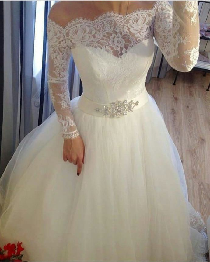 Long sleeve tulle white appliques wedding dress, formal wedding gowns T1595
