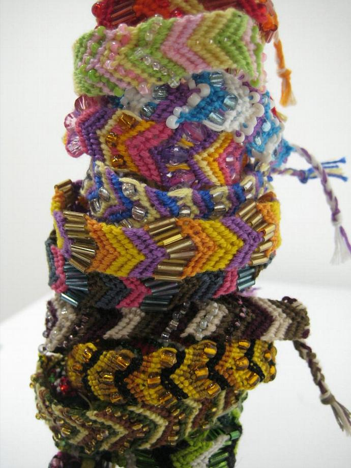 Grab Bag of Beaded Chevron Micro Macrame Friendship Bracelet Set of 10