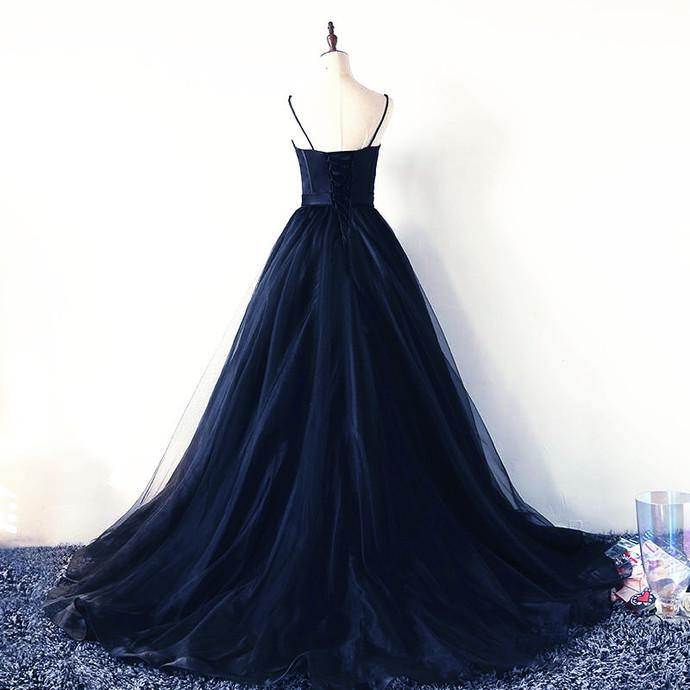 Navy Blue Fashionable Straps Sweetheart Long Evening Dress, Blue Prom Dress