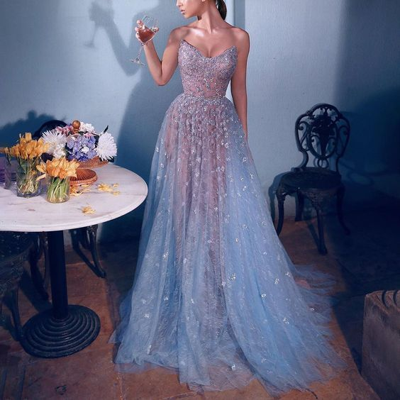 blue prom dresses long beaded lace applique sweetheart neck elegant luxury