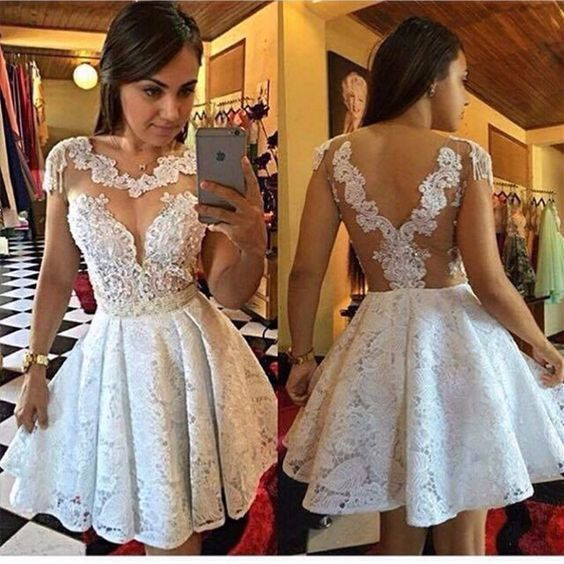 lace applique Prom Dresses short vestido de graduacion robe de soiree elegant