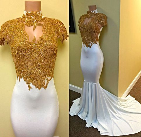 gold lace evening dresses long high neck lace applique mermaid beaded modest