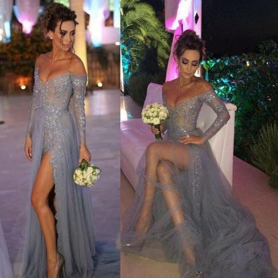 silver prom dresses long sleeve lace applique beaded v neck elegant prom gown