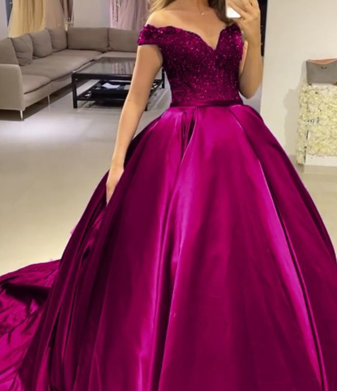 fuchsia prom dresses ball gown off the shoulder quin ceanera dress