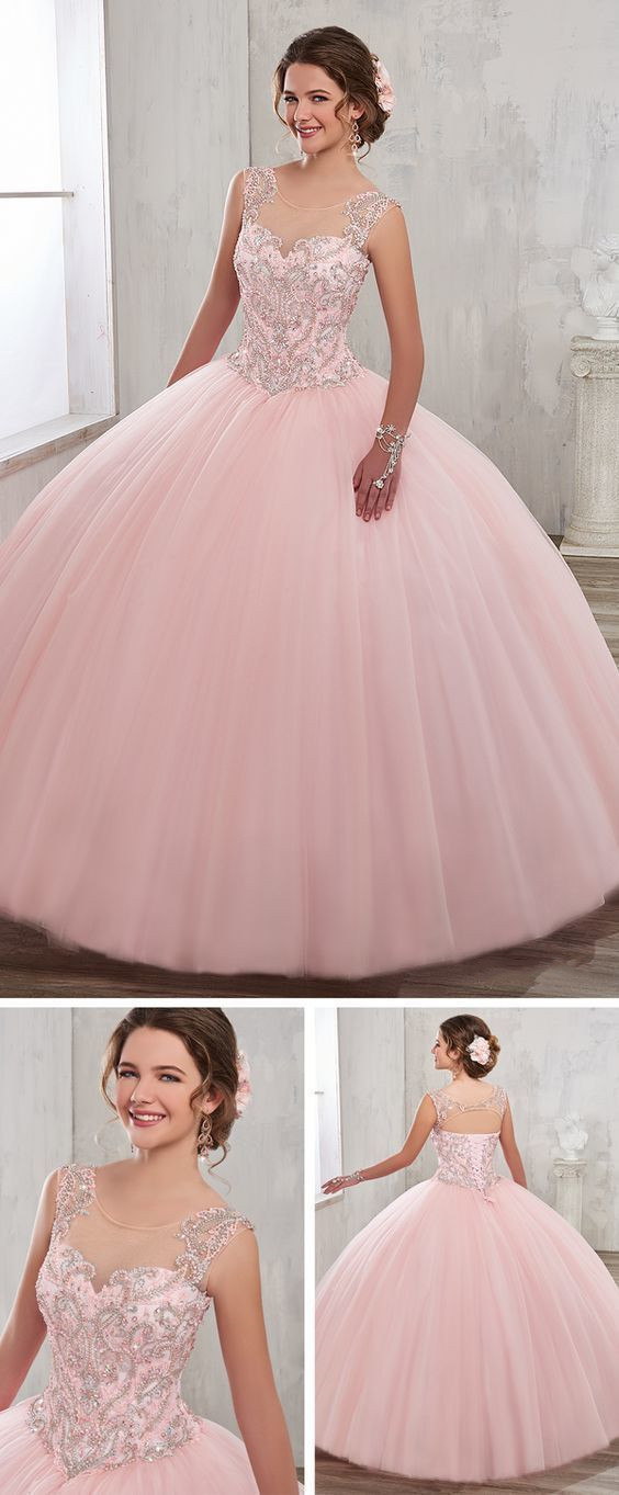 Elegant Pink Tulle Bateau neck Quinceanera Dress Ball Gowns, Sweet 16 Dresses