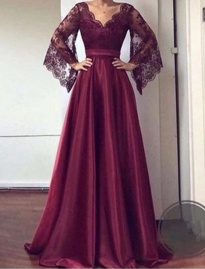 V Neck Lace Sleeves Prom Dress , Charming Prom Dress