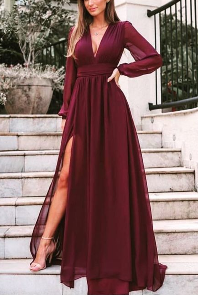 Burgundy Split Wedding Guest Dresses